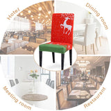 Christmas Decor Dining Room Banquet Chair Cover. Washable Removable Stretch Seat Cover. Universal Size Chair Covers Seat Slipcovers