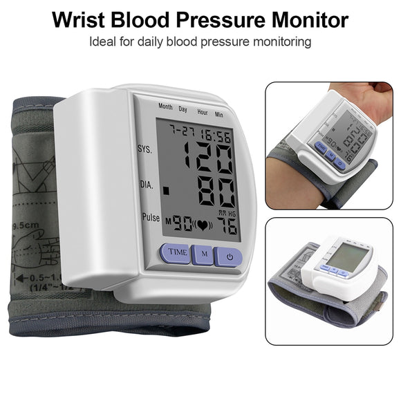 LCD Display Automatic Digital Wrist Cuff Blood Pressure Monitor Arm Meter Pulse