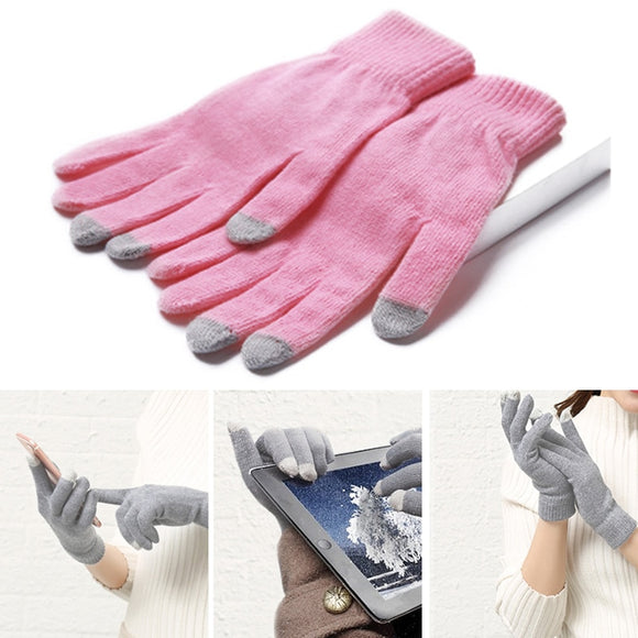 Touch Screen Fashion Mittens  Lovely  Unisex Magic Glove Stretch Soft Knitted Cotton Autumn Winter Warm Gloves 4 Color