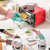New Oven Mitts High-temperature Microwave Oven Baking Gloves Cotton Thicker Insulation Anti-heat Slip-resistant Oven Mitts