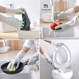 A Pair Gradient Color Dishwashing Gloves Thin Section Housework Clean And Durable Kitchen Laundry Waterproof Latex Gloves