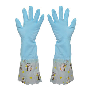 Kitchen Dishewashing Gloves Cleaning Waterproof Washing  Wide Mouth Beam Mouthwash Gloves Long Sleeve Rubber Latex Gloves