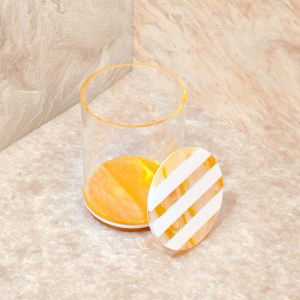 Large Stash Jar in Yellow Stripe
