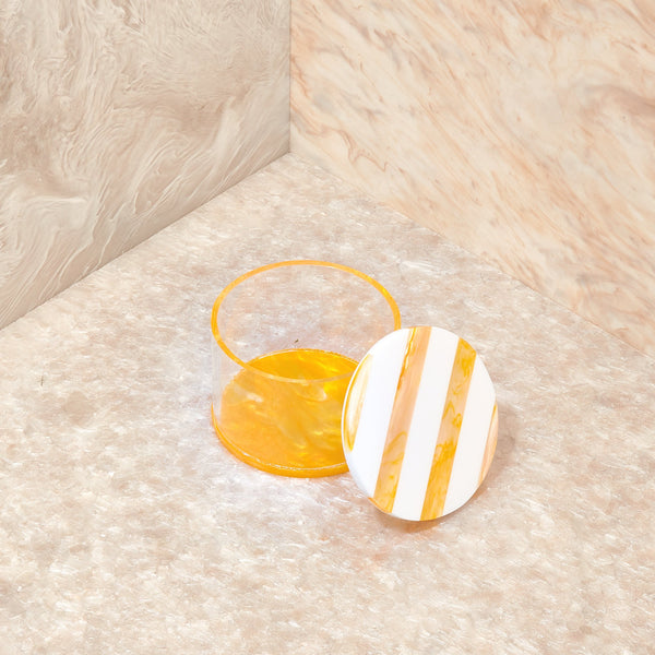 Small Stash Jar in Yellow Stripe