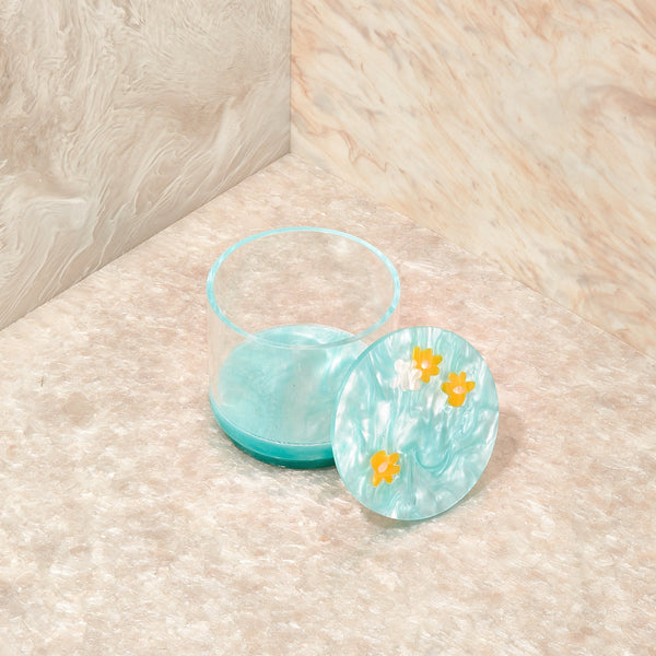 Floral Medium Stash Jar in Aqua Sage