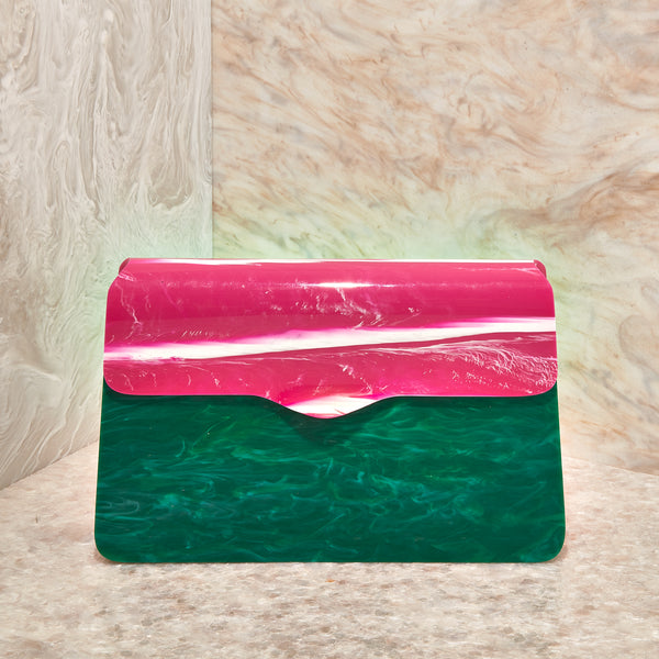 Hardbody Lady Bag in Malachite/ Hot Pink