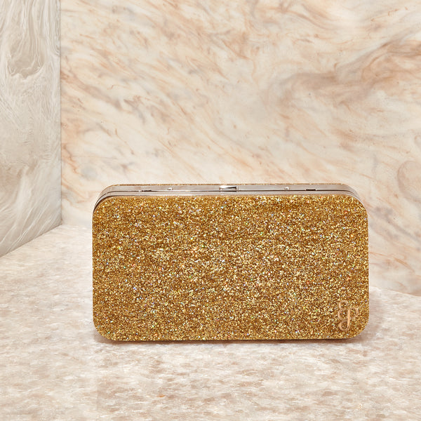 Hardbody Metal Clutch in Gold