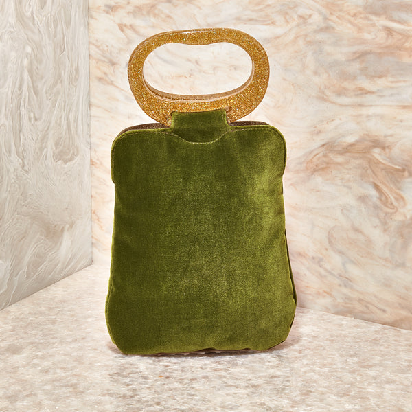 Velvet Grab Bag in Deep Peridot
