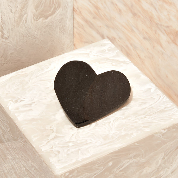 Heart Hair Clip in Obsidian