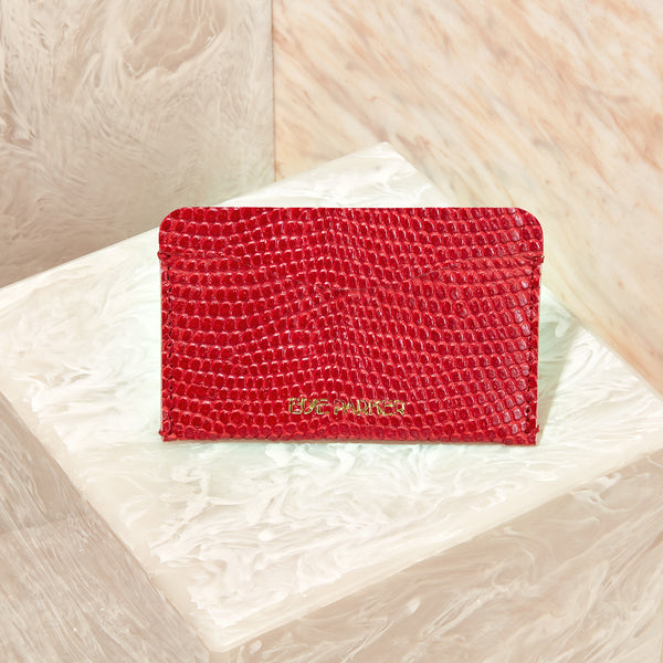 Card Case Lizard in Red