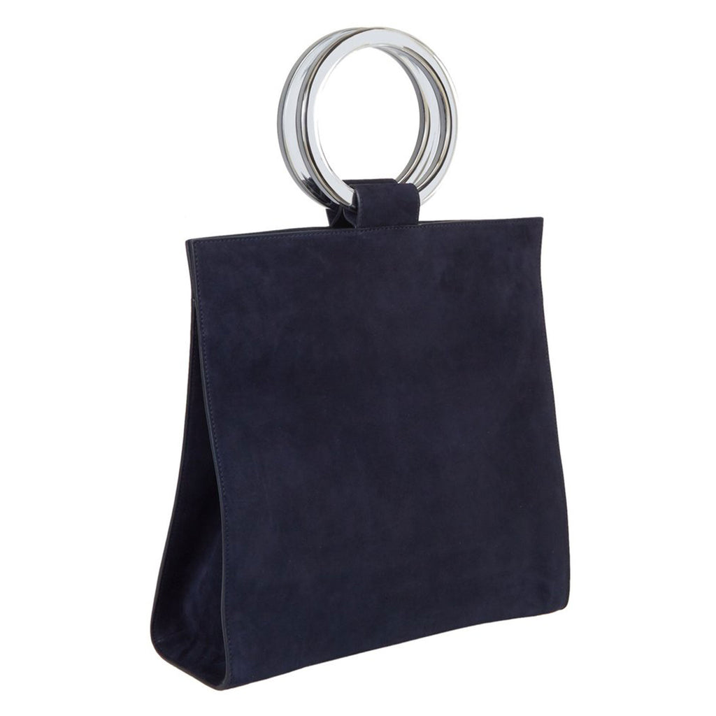 Edie Parker Aces Suede Navy Handbag Crossbody with Mirror Handles and leather removable strap Angled