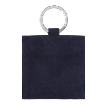 Edie Parker Aces Suede Navy Handbag Crossbody with Mirror Handles and leather removable strap Angled View