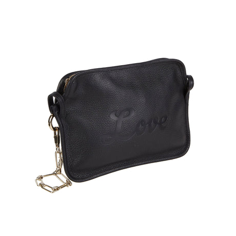 Edie Parker Amy Love Leather Crossbody Clutch in Black Leather with Love in script text debossed with removable gold chain angled view