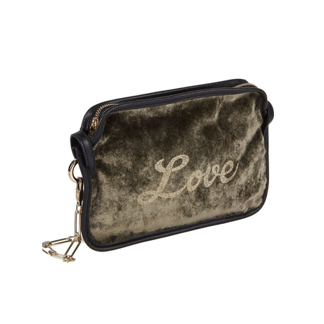 Edie Parker Amy Love Velvet Crossbody Clutch in Olive Green Velvet with Love in script text debossed with removable gold chain front view