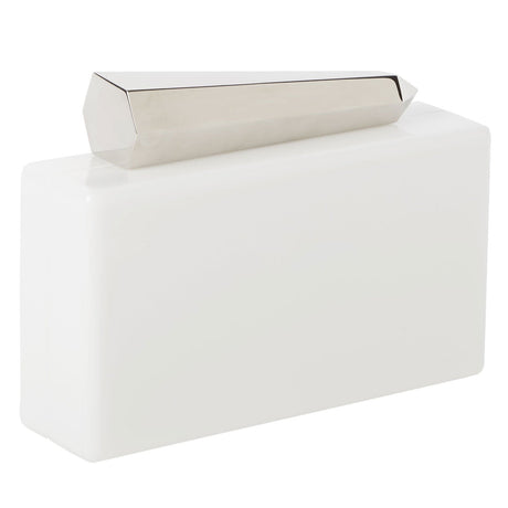 white, Edie Parker Avery Acrylic Clutch handbag in White with metal Lock Metal