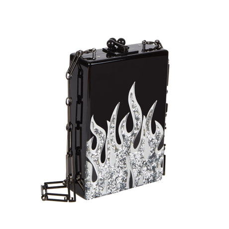 Edie Parker Carol Flames Clutch Crossbody in Black with Silver confetti and clear mirror flames motif black hardware and removable steel chain