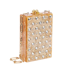 Edie Parker Caramel Pearlescent Carol Stud Clutch Handbag Gold Chain White Crystals Feature Image