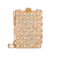 Edie Parker Caramel Pearlescent Carol Stud Clutch Handbag Gold Chain White Crystals Front View