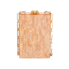 Edie Parker Caramel Pearlescent Carol Stud Clutch Handbag Gold Chain White Crystals Back View