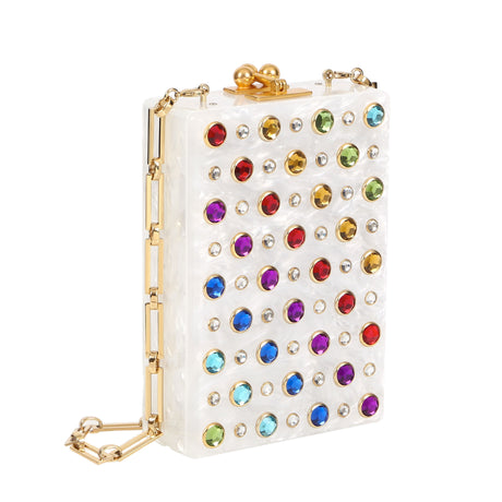 Edie Parker White Pearlescent Carol Crossbody Rainbow Crystal Studded Handbag Clutch Gold Hardware Chain