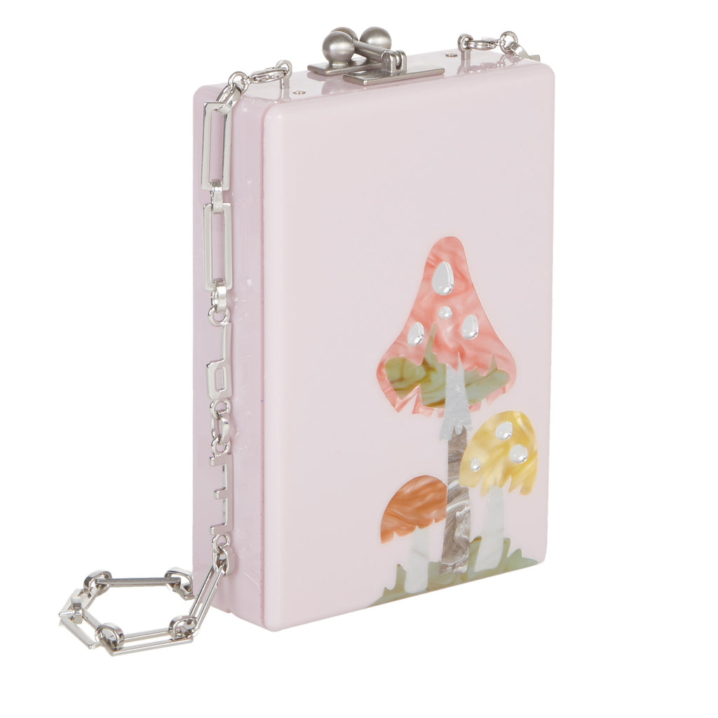 Edie Parker Blush Pink Carol Funghi Mushrooms Crossbody Handbag Removable Silver Chain Pink Design