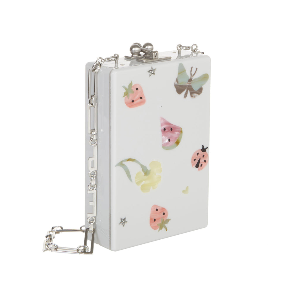 Edie Parker Carol Picnic Smoke Grey Pink Strawberry Green Butterfly Yellow Flower Ladybug with Silver Hardware and Removable Chain Side Angle
