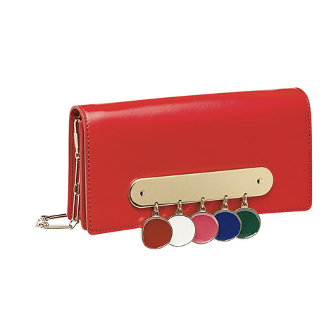 red-multi, Candy Leather with Coins featuring brass panel with etched hanging enamel coins in plated brass, and removable silver chain crossbody strap.