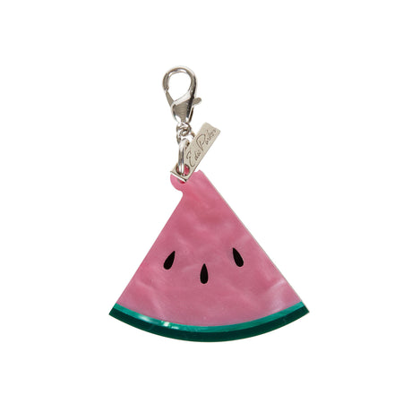 watermelon, Watermelon Charm in pink pearlescent, kelly green, emerald, and black with silver glitter back and silver hardware