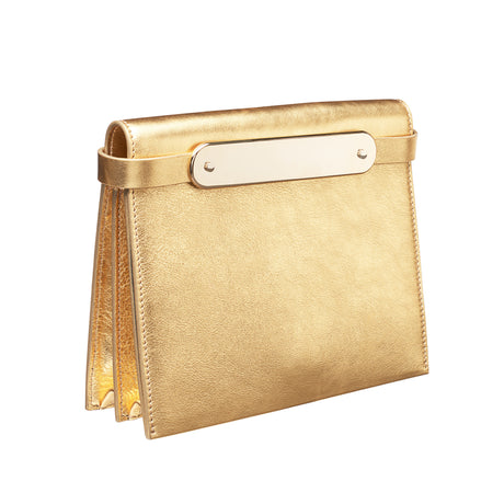 gold, Candy Leather in gold leather featuring brass panel, with removable leather shoulder strap as well as gold crossbody chain