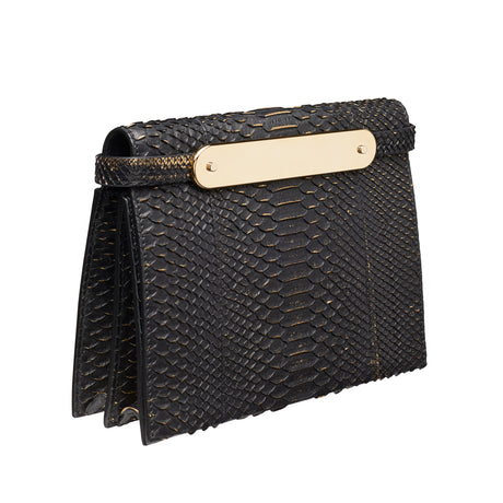 Edie Parker Candy Python Designer Clutch Handbag in genuine black python with gold painted accents featuring gold mirror acrylic panel, with removable leather shoulder strap as well as gold crossbody chain.