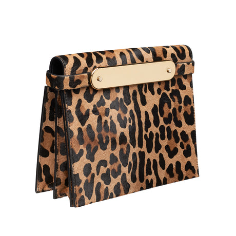 leopard, Candy Leopard in printed haircalf featuring flat white acrylic panel, with removable leather shoulder strap as well as removable leather crossbody strap