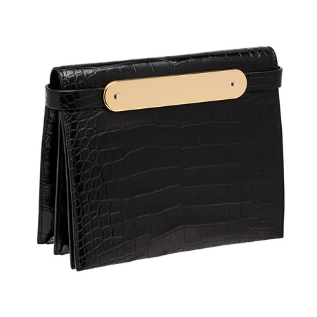 black,Candy Croc featuring brass panel, with removable leather shoulder strap.