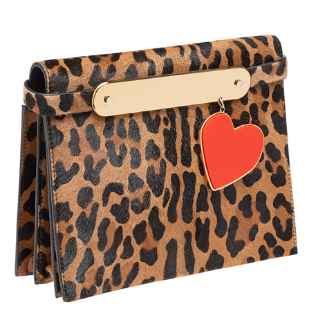 candy-leopard, Candy Leopard with Heart Charm in plated brass, and removable leather shoulder strap as well as removable leather crossbody strap.