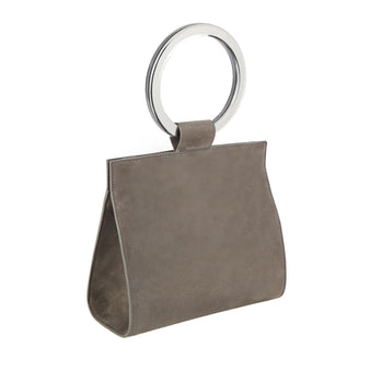Edie Parker Deuces Suede Handbag Cross Body in Grey with Clear Mirror Handles and removable leather strap