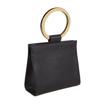 Edie Parker Deuces Leather Handbag Cross Body in Black with Gold Mirror Handles and removable leather strap