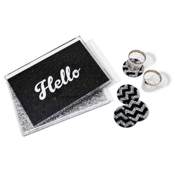 Edie Parker Acrylic Hello Tray Starlight Black Cursive White Text Home Accessories