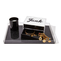 Edie Parker Junk Jewelry Box White Pearlescent Black Obsidian Drawers Cursive Acrylic Text Table Image