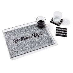 Edie Parker Bottoms Up Silver Confetti Home Accent Tray Staged Table View