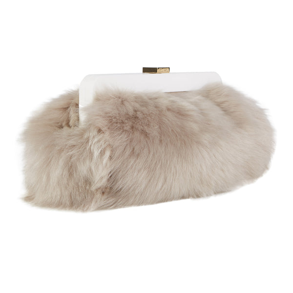 Leandra Shearling Large in taupe lamb shearling with gold spring lock clasp.