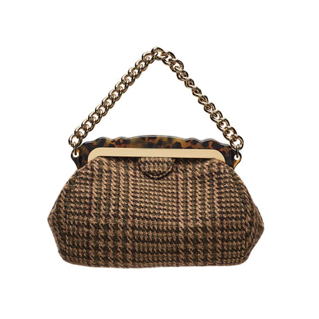 Edie Parker designer handbag Aliza Wool Tweed in brown multi featuring tortoise rhodoid frame with magnetic closure, and goldtone top handle chain.