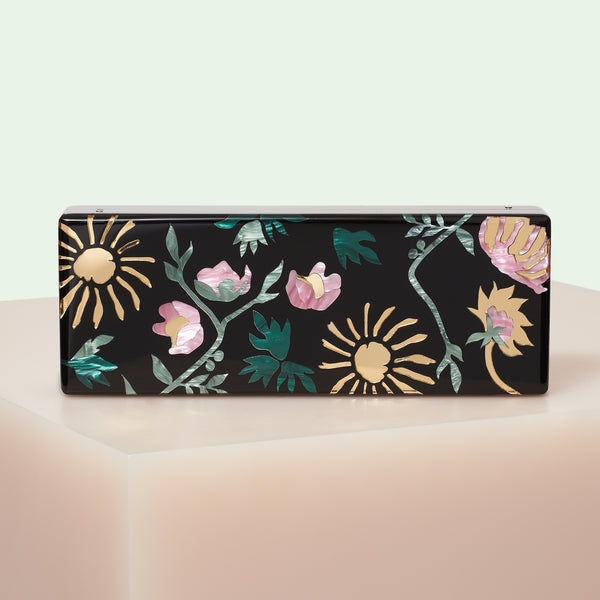 Edie Parker designer handbag clutch Flavia Brocade in black featuring multi colored floral inlays with gold hardware, and removable top handle chain.