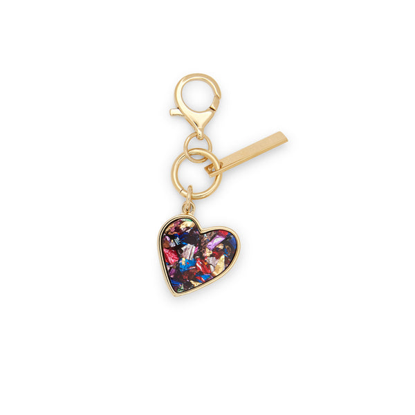 Edie Parker designer Heart Charm in rainbow confetti with gold hardware.