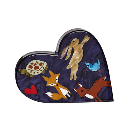 Edie Parker designer handbag clutch Heartly Forest Critters Wristlet in dark purple with multi colored inlays of forest animals.