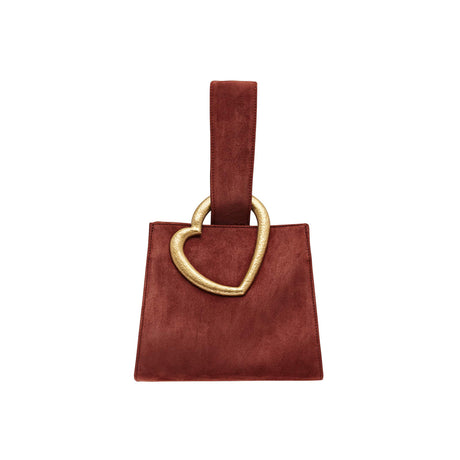 Edie Parker designer handbag Heart Wristlet in ruggine brown goat suede with loop top handle and metal heart.