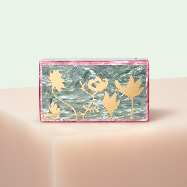 Edie Parker designer handbag clutch Jean Floral Silhouettes in moss with gold mirrored floral inlays and removable top handle chain.