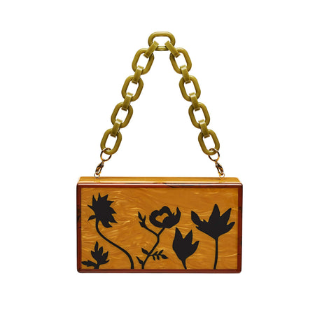 Edie Parker designer handbag clutch Jean Floral Silhouettes in mustard with black floral inlays and removable top handle chain.
