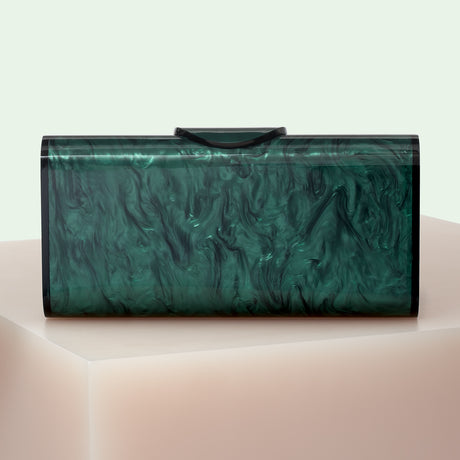 Edie Parker designer handbag clutch Large Lara Solid in Emerald.