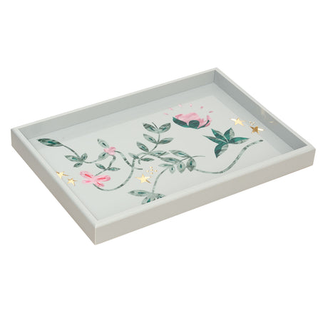 Large Tray Vines in grey flat with multi colored inlays.
