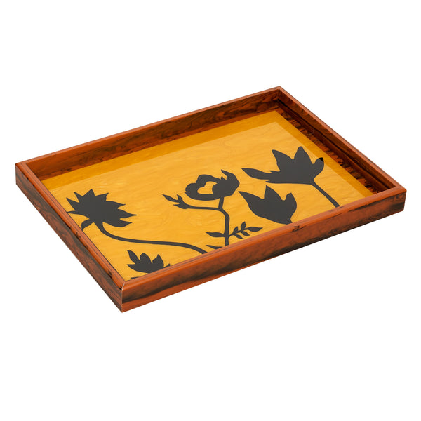 Large Tray floral silhouettes in mustard with black inlays.