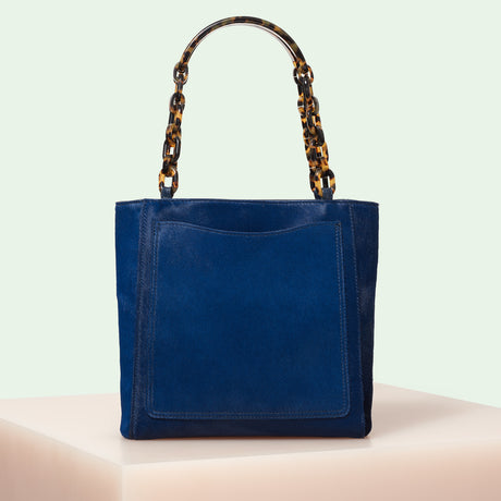 Edie Parker designer handbag Mini Tote in Navy Haircalf with double tortoise rhodoid top handle chain.